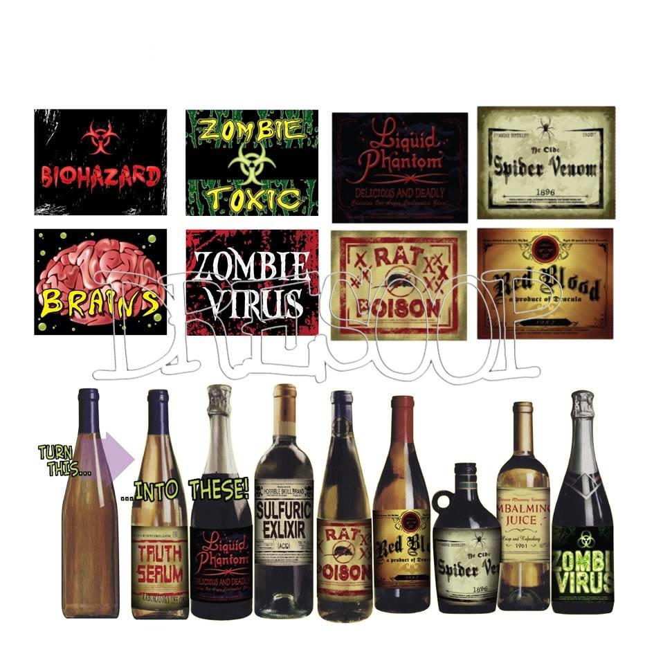 Blister 8 etiquetas de decoración de Halloween