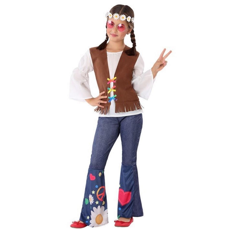 Disfraz Hippie azul para niña