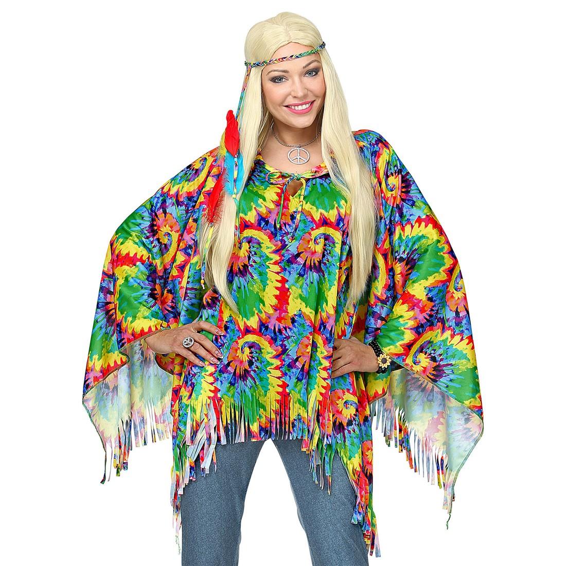 Disfraz poncho Hippie para mujer